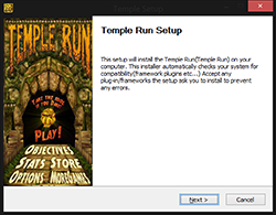 Temple Run setup finish screen